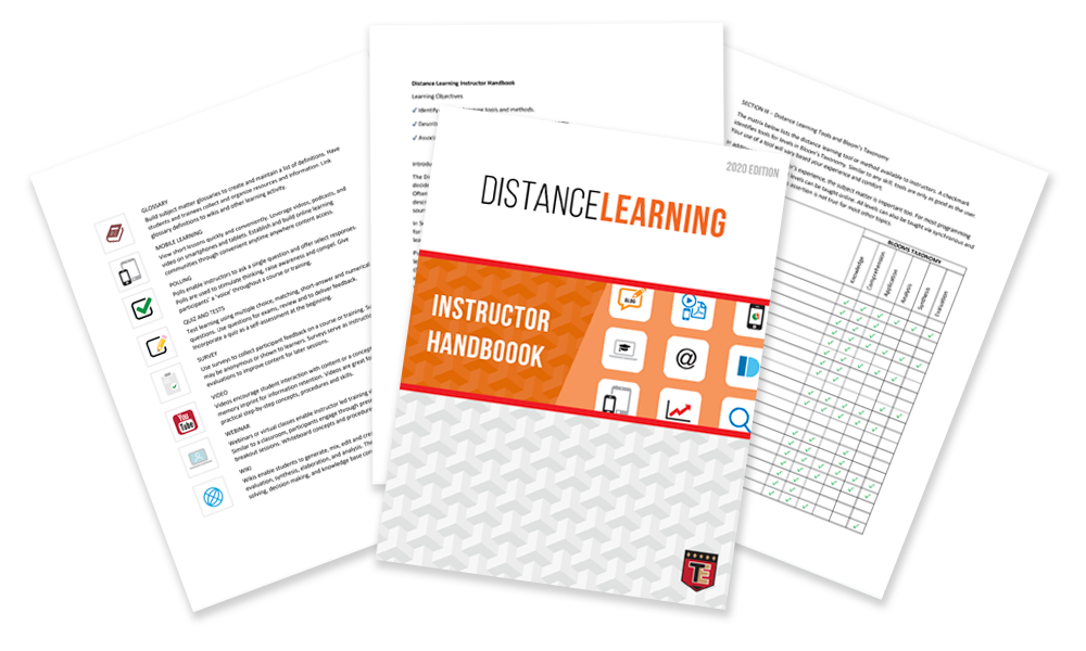 Distance Learning Instructor Handbook relates online learning activities to Benjamin Bloom's Taxonomy of Learning